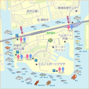 南芦屋浜 釣りMAP